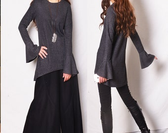 Game of Thrones frilled cuff tunic / boho tunic / asymmetrical bottoming shirt / extravagant sleeve tunic dress / Celine knit (Y1701gt)