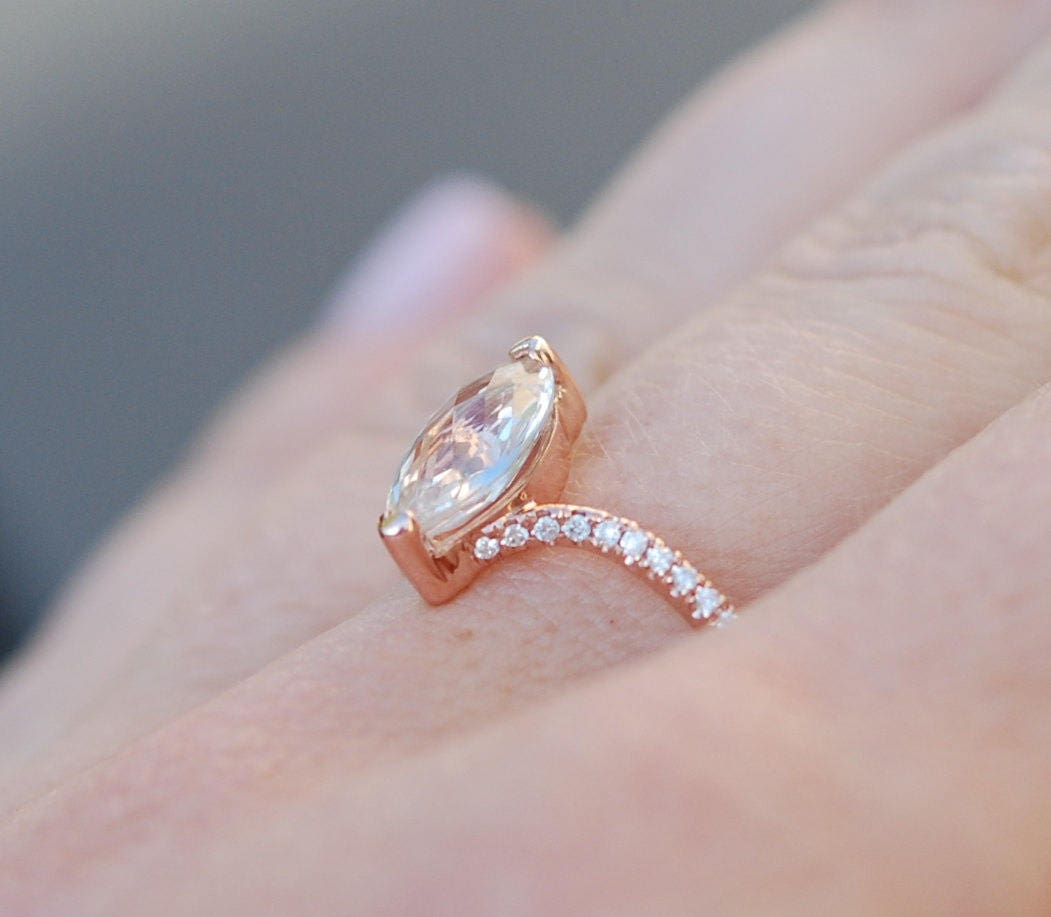 Unconventional Engagement Ring Marquise Engagement Ring Rose Gold Diamond  Ring Engagement Ring With 15ct White Sapphire Full Eternity
