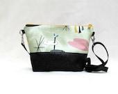 Retro Print Barkcloth ADELE Cross Body Purse // Mid-Century Modern Abstract Fabric Handbag // Day Bag