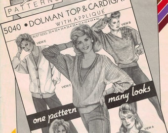 1980s Vintage Sewing Pattern Stretch and Sew 5040 Dolman Top and Cardigan with Applique Bust 30 32 34 36 38 40 42 44 46 UNCUT 1985