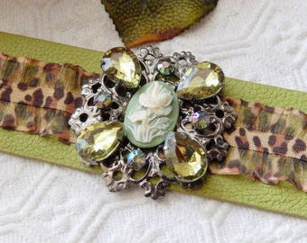 One of a Kind Bold Green Leather Animal Print Cameo Rhinestone Embellished Adjustable Cuff