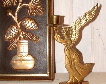 Vintage Heavy Brass Angel Candleholder Candlestick
