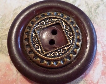 1 Big Brown Ornate Vintage Button 1 1/4 Inches