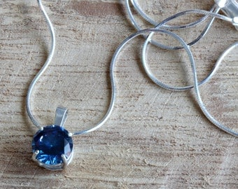 Jewelry Necklaces, Gemstone Necklace, Pendant Necklace, Sterling Silver Necklace, Blue CZ, Handmade Setting, Gift for Women, Gift for Her