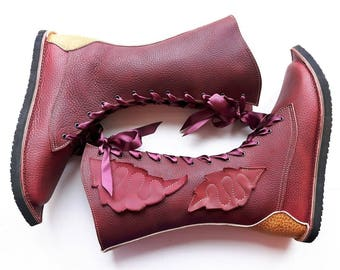 UK 4, MOONSHINE Neverland tall Boot #3214 raspberry ripple tan