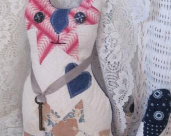 Vintage Quilt Cat Pillow Skeleton Key - Shabby Cottage Farmhouse Kitchen