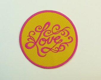"""Love Patch Embroidered Applique- 4"""" Circle- #100521"""