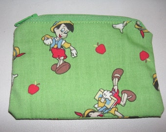 Pinocchio handmade fabric coin change purse