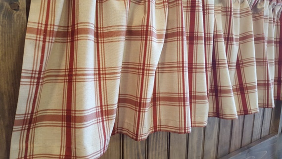 Crimson Red Plaid Kitchen Cafe Curtains For Country Farmhouse