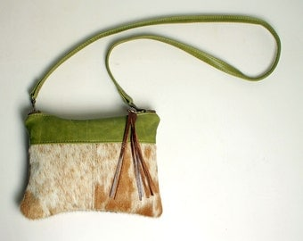 Mini Cross body Purse in Green Leather with Removable Strap Clutch Bag in Brown and Creamy White Hair On Cowhide Leather