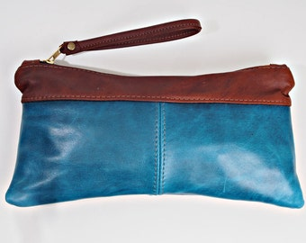 Blue Leather Wallet Wrist-let Handbag Zip Pouch