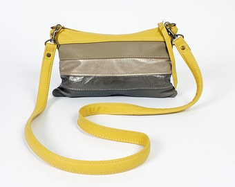 Roxy Cross Body Purse in April Skies Yellow Gray Leather Grey Handbag