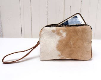 Cowhide Clutch Wallet in White and Brown Hair On Leather Bag
