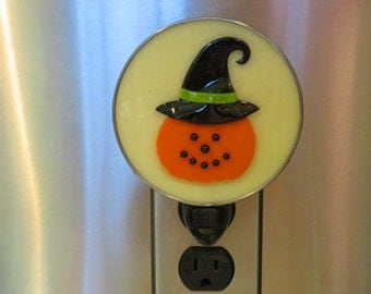 Jack-O-Lantern - 5 Choices - Halloween Nightlights - Pumpkin with Witch Hat  - Pumpkin with Face - Fused Glass Night Lights