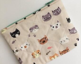Cat Clutch, Cat Pouch, Cat Wallet,  Zipper Pouch, Cats