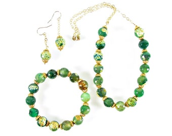 Green Agate Necklace Set, Gemstone Gold Jewelry