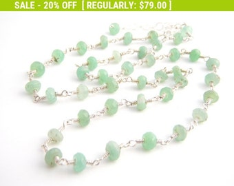 20% Off Sale Chrysoprase Strand Necklace, Rosary Style, Sterling Silver, Mint Green