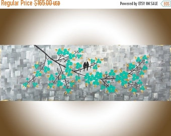 "Colorful modern abstract painting grey aqua green Impasto love Birds Wall Art canvas art ""A Garden Full of Beauty of Spring"" by QIQIGALLERY"