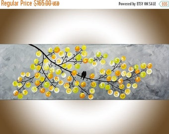 Yellow Grey Abstract art colorful modern wall art love birds home decor wall decor wall hanging original artwork by qiqigallery