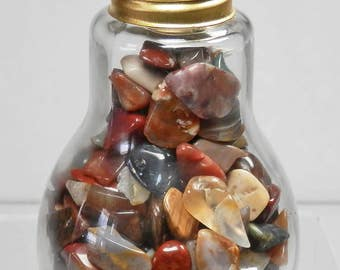 RJ-29   Small Tumbled Polished Rocks Decorative Glass Light Bulb Display Gift