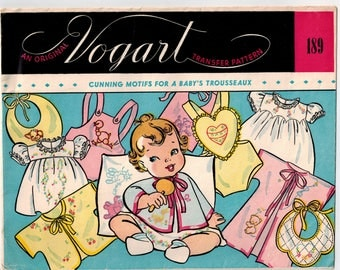 Vintage 50s Baby Transfer Pattern Vogart 189 Cunning Motifs for Baby's Trousseaux Dainty Animals Baby Layette Embroidery Mid Century Designs