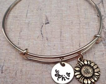 Sunflower Bangle Bracelet - Gold Adjustable Bangle - Personalized Names Initials - My Sunshine Personalized Adjustable Gold Bangle -B-52
