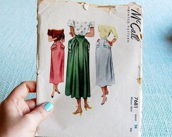 NEW YEAR SAVINGS Vintage McCall 7681 skirt pattern with unique design 1949 Rare waist 24