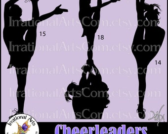 Cheerleader Silhouettes - 3 EPS & SVG vinyl ready files, 3 png digital graphics, small commercial license {Instant Download}
