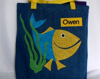 Kids Fish Tote Bag|Easter Gift Bag|Tote Bag for Kids|Children's Book Bag|School bag|Preschool bag|Library Book Bag|Toddler Bag