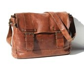 Brown Leather Messenger Portfolio Laptop Bag