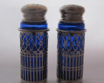 Vintage Cobalt Glass Silver Plate Salt & Pepper Shaker Set Silver Plate Filigree Covers and Tops - Vibrant Blue Glass