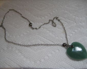 Green Adventurine Heart Pendant with  Sterling Chain and Bail