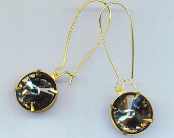 Swarovski Crystal Indian Sapphire Rhinestone Earrings 15 mm . Blue Green . Pierced earrings . Large Kidney Ear Wire by enchantedbeas on Etsy