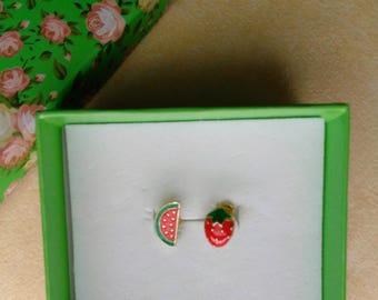 Summer Fruit Earrings, Asymmetrical, Watermelon, Strawberry, Gold Plated Post Earrings, Small Studs, Minimalist Earrings by enchantedbeads