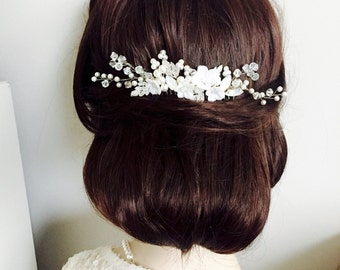 White Pearl and white opal flower curved wedding Hair Comb, chignon hair piece, swarovski pearl and Rhinestone Bridal Comb, Hair accessories