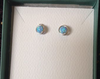 Blue Opal Studs, Argentium Sterling Silver Wire posts, rubber backs
