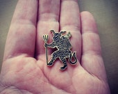 Krampus the Christmas Devil enameled artist lapel pin