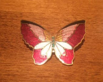 Vintage Cloisonne Butterfly Pin, 1970's