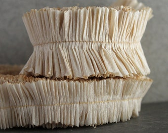Parchment Crepe Paper Ruffles - Aged Cream Rustic Barn Wedding Garland - DIY Party Garland - Hand Dyed Ruffled Trim - Altered Art Supplies