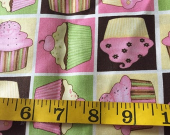 One half Yard of Birthday Cupcakes Fabric  Pink Green Yellow and Brown