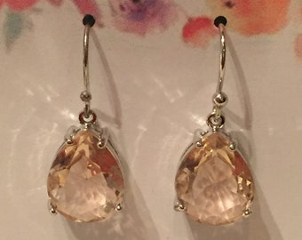 Sterling Champagne Faceted Tear Drop Glass Silver Earrings