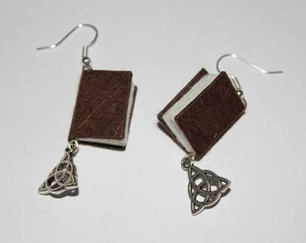 Brown Miniature Bound Book Earrings With Celtic Knots