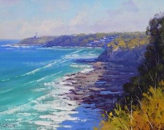 Original Coastline Painting Coastal Painting  Impressionist Ocean Wall Art