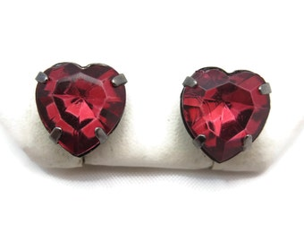 Heart Earrings - Wine Red Rhinestones, Pierced Posts Studs, Costume Jewelry