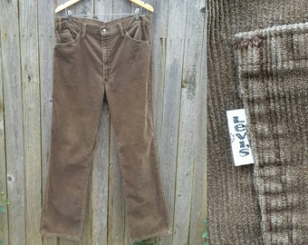 """Vintage Levi's 517 Jeans  //  Vtg 70s 80s Made in the USA Levis Distressed Brown Corduroy High Waist Boot Cut Cords  //  37"""" waist"""