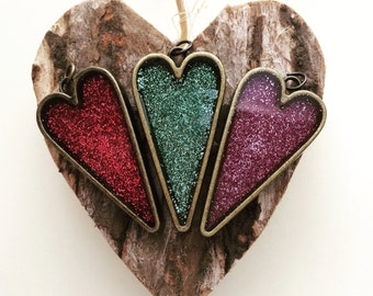 glitter heart pendant or necklace - choose your color