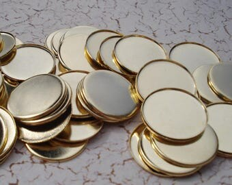 12 Gold Plated 18mm Round Bezel 1mm Low Wall Settings for Flat Back Cabs or Jewels