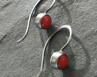 Sterling Silver-Artisan-Minimalist-Dangle-Coral-Earrings-Sale.