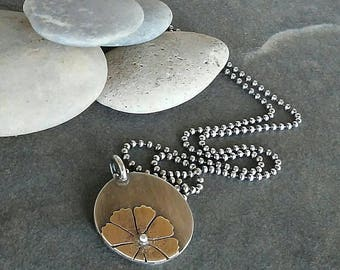 Rustic -Cosmos flower-Artisan-OOAK-Pendant-Necklace-Sterling Silver -Brass.