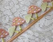 1 Yard Extra Fancy 1-3/8 Inch Embroidered Cutwork Ribbon Trim Peach Yellow Mushrooms